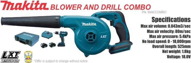 Makita Blower And Drill Combo Garrards